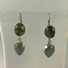 Beautiful - Labradorite 925 Sterling Silver Drop Earrings - 18.54 carats