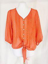 Sheer Waist Tie Crop Top Coral Orange Polka Dots Medium Women's