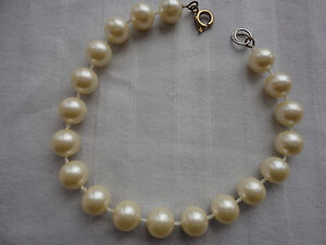"Vintage style gold-plated ring bolt fasten 8 mm faux pearls 5 gram 8"" bracelet"