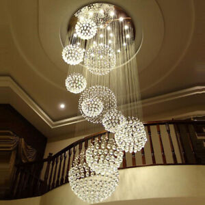 Modern Luxury Sprial Crystal Pendant Chandelier Lustre Ball Design Ceiling Light