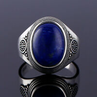 Vintage 925 Silver Band Oval Lapis Lazuli Gemstone 10*14mm Simple Design Ring !!