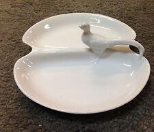 """Vintage Serving Plate Double Dish White Porcelain Pheasant  8"""""""