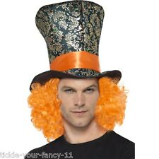 Unisexe homme lady mad hatter chapeau haut & cheveux orange alice in wonderland tea party
