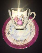 Vintage 1970 Lustreware Victorian Tea Cup Saucer Set Courting Couple porcelain