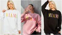 UK Womens Oversized Sweater Jumper Ladies Miami Slogan Sweatshirt Pullover Top