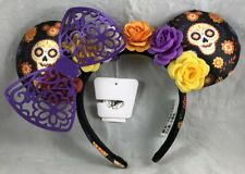 Disney Parks Minnie Mouse Ears Purple Bow Coco Halloween Calavera Flowers Hat