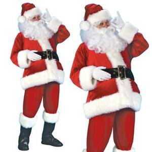 Santa Claus Costume Father Christmas Flannel Suit Mens Adult Fancy Dress Outfit