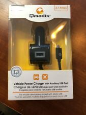 Qmadix 2.1A 7Ft Micro USB Vehicle Power Charger with Extra USB Port - Black