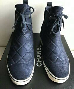 CHANEL Sneakers 38 ( US8 ) Logo CC Blue Quilted  Suede Authentic