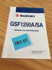 Suzuki GSF1250A / SA K9 GSF1250 manuel entretien conducteur propriétaire moto