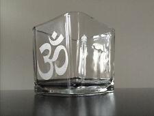 OM CANDLE HOLDER Glass Meditation Balance, Yoga candle holder