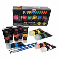 Acrylic paints Set large Artists High viscosity 12x75ml Thick Paint FREE BRUSHES
