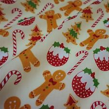 Cream Polycotton Fabric with Gingerbread Men & Christmas Puddings (Per Metre)