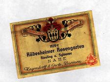 """ETIQUETTE ANCIENNE de VIN RIESLING / SYLVANER """"RUDESHEIMER ROSENGARTEN"""" de 1939"""
