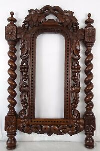 Antique French Wood Hand Carved Wall Picture Frame Twisted Column Black Forest
