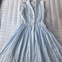 1950s 1960s Cotton Blue White Striped Summer Dress