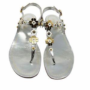 PRADA size 37.5 Silver thong sandals low block heel