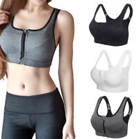 Women Shockproof Sports Yoga Bra Zipper Front Padded Push Up Fitness Tank Tops