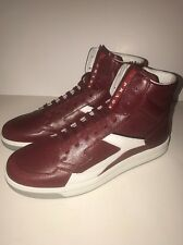 New Men's Prada High Top Sneaker, Burgundy, Size 11, Prada Size 10, $890
