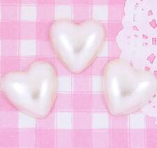 10 x LARGE Cream Pearl Heart Flat Back Cabochons Decoden Phone Decoration Kawaii