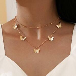 2x Damen Halskette Schmetterling Anhänger Gold Geschenk Frauen Kette Vergoldet
