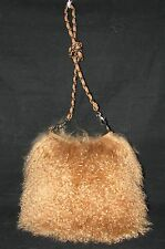 COGNAC BROWN GENUINE MONGOLIAN LAMB/SHEEP FUR/HAIR CROSSBODY HANDBAG,PURSE-NEW