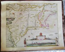 "Penn Prints N.Y. Antique Map Novi Belgii by Visscher 1650s 16"" x 20"""