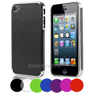 Premium Elegant Leather Chrome Hard Case Cover Skin For Apple iPhone 5SE 5 5S 5G