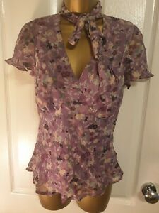 Womens Blouse Size 10 Lilac Floral chiffon lined by George vgc