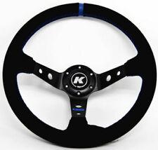 Kode 350mm Deep Dish Suede Steering Wheel Blue Stitch Fits 6x70mm PCD Boss Kit
