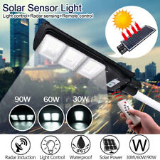 30/60/90W Solar LED Street Wall Light Radar Induction Outdoor Timing Lamp+Remote