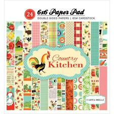 Scrapbooking CB Park 6X6 Paper Pad Country Kitchen Farm Animals Retro Vegetables