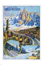 CHAMONIX FRANCE vintage train travel poster BRIDGE MOUNTAINS 24X36 prized