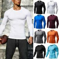 Men's Compression Shirt Thermal Base-Layer Sports Top Long-Sleeve Gym Cool Dry G