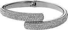 Michael Kors Mkj3668 Silver Tone Pave Crystal Bypass Cuff Bracelet+ Pouch