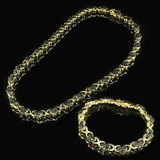Heart Link Necklace Bracelet Set 14k Gold Finish 925 Silver Black CZ XOXO Link