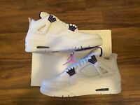 New Air Jordan 4 Metallic Retro White Court Purple Men's Size 9   Free shipping