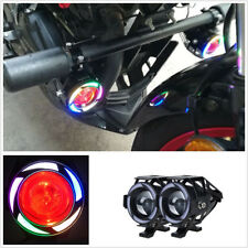 "1 Pair Round Wind Motorcycle Colorful Headlight Projector +7/8"" Handlebar Switch"