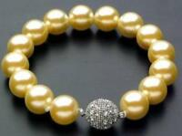 "8/10/12mm Gold South Sea Shell Pearl Bracelet 7.5"" Magnet clasp AAAA"