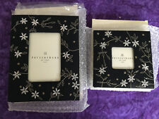 """Set of 2 POTTERY BARN Beaded and Embroidered Floral """"ZARI FRAME"""" Photo Frames"""