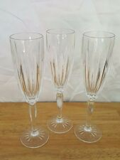 3 FIREWORKS FLUTED CHAMPAGNE GLASSES Cristal D'Arques Vertical Cuts Starburst