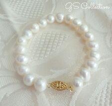 9-10MM Cream White Round South Sea White Pearl Bracelet. 14K GF  clasp .