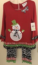 Emily Rose Snowman Top With Zebra Leggings Outfit Girls Size 4