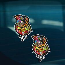 2x GRENADE Stickerbomb Car,Window,Bumper JDM DUB EURO VAG Vinyl Decal Stickers
