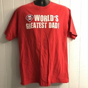 Philadelphia Phillies Worlds Greatest Dad MLB SS T-Shirt Distressed Adult Large