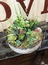Mini Artificial Succulents Plants  Landscape Garden Home Decor - Tin Container