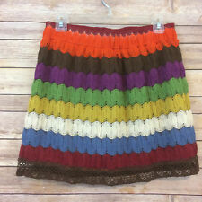 Judith March M/L Crochet Skirt Boho Festival Orange Yellow Green Blue Stripe 116