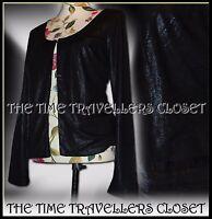 KATE MOSS TOPSHOP Black Shimmery Sparkly Snakeskin Jacket Lined Eyelet UK8 10 12