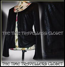 KATE MOSS TOPSHOP Black Shimmery Sparkly Snakeskin Jacket Lined Eyelet UK 6 8 10