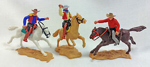 Lot Of 3 Made in England Timpo Toys Mounted Cowboys